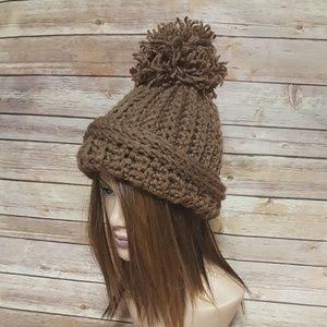 defb00d9 One Chic Boutique Accessories - Cafe Latte Crochet Ribbed Hat with Pom Pom